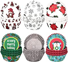 600 Pieces Christmas Cupcake Liners Snowflake Snowman Christmas Cupcake Toppers Wrappers Baking Cups Muffin Cups Cupcake H...