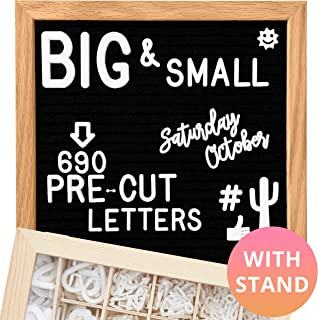 Felt Letter Board 10x10 (Black) | +690 PRE-Cut Letters +Cursive +Stand +Upgraded Wooden Sorting Tray! Letters Board, Letter Boards, letterboard, Word Board, Message Board, Letter Sign, Changeable