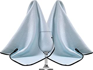 Polyte Premium Microfiber Wine Glass Fine Polishing Towel (18x28, 2 Pack, Light Blue)