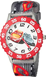 DISNEY Boys Cars 3 Stainless Steel Analog-Quartz Watch with Nylon Strap, Grey, 16 (Model: WDS000300