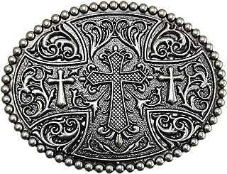 LAXPICOL Native American Big Heavy Duty Vintage Celtic Pattern Cross Oval Belt Buckle For Men Grey Tone