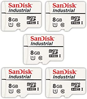 SanDisk Industrial 8GB Micro SD Memory Card Class 10 UHS I MicroSDHC (Bulk 5 Pack) in Cases (SDSDQAF3 008G I) Bundle with (1) Everything But Stromboli Card Reader