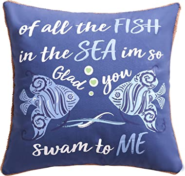 Levtex home - Laida Beach - Decorative Pillow (20 X 20in.) - Tropical Fish - Navy, Turquiose and White