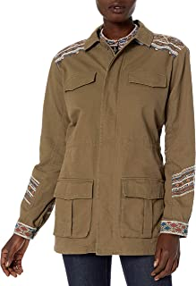 3J WORKSHOP by Johnny was Women's Cotton Canvas Embroidered Military Style Jacket