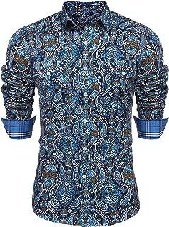 Men's Floral Dress Shirt Slim Fit Casual Paisley Printed Shirt Long Sleeve Button Down Shirts