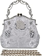 Chichitop Women's Vintage Flower Beaded Sequin Evening Clutch Wedding Purse Party Bags (Silver)