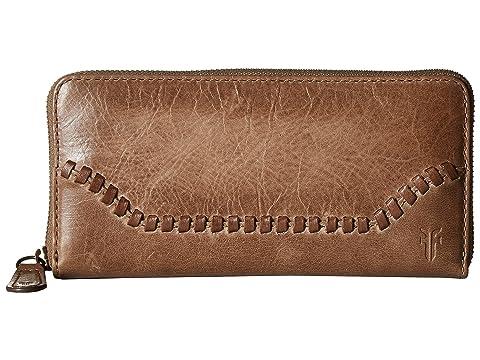 Wallet Zip Dark Melissa Frye Up Whipstitch Taupe Antique Pull 1gqUxtx