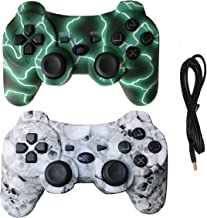 IHK 2 Pack Wireless Dual Vibration Controller for PS3, Gamepad Remote for Playstation 3 with Charge Cables, Green and Skul...