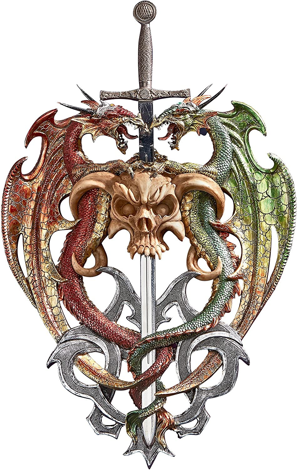 Design Toscano Hell-Bent Dragon Predectors of The Sword Wall Sculpture, Full color