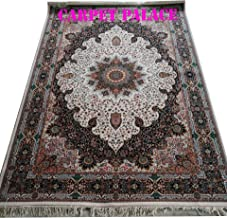 Carpet Palace New Creation Iranian High Range Very High Quality Handknotted Export Quality Kashmiri Design Pure Imported Semi Worsted Wool Carpets for Your Living Room 5X7 FT (150x200cm) Color Ivory