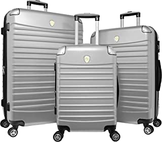 World Traveler Expedition 3-Piece Hardside Spinner Luggage Set - Silver