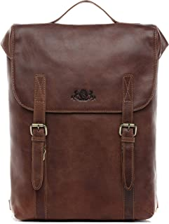 SID & VAIN Rucksack echt Leder Eton groß Kurierrucksack Laptoprucksack Backpack Tagesrucksack Laptopfach 15.6 Lederrucksack Unisex braun