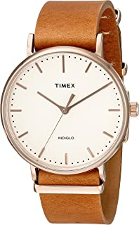 Timex Unisex TW2P91200 Fairfield 41 Brown Leather Slip-Thru Strap Watch