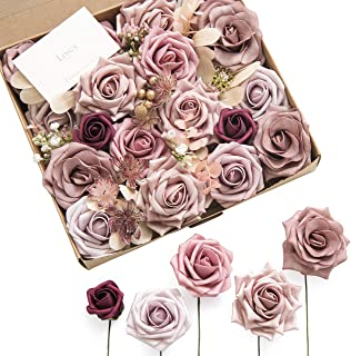 Ling's moment Elegant Dusty Rose Artificial Flowers for DIY Wedding Bouquets..