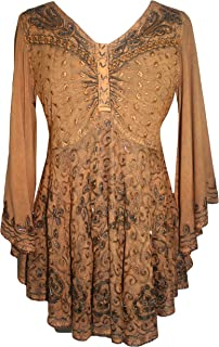 Agan Traders Women's Medieval Butterfly Embroidered Sequin Flair Bell Sleeve Top Blouse OR Dress