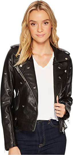 Blank NYC - Vegan Leather Moto Jacket with Studded Dragonflies in Dragonfly