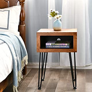 WELLAND Solid Pine Wood Nightstand Edge End Table Side Table Coffee Table with Metal-Leg, 15.5