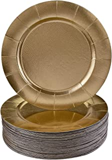 DISPOSABLE ROUND CHARGER PLATES - 120pc (Gold)