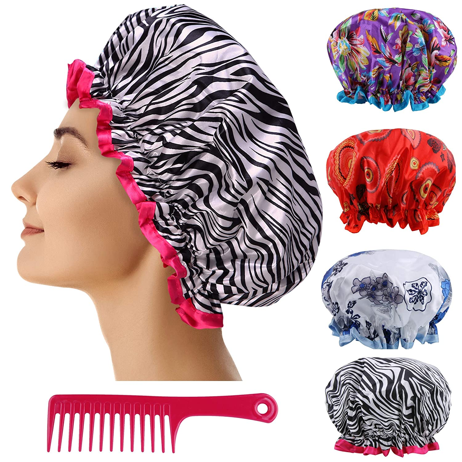 Reusable Shower Cap Women Hair - 4 Pack Showe 2021 spring and summer Limited price new of Lined Plastic