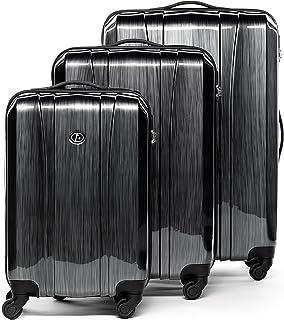 FERGÉ® Set 3 valises Voyage Rigide léger Dijon Ensemble de Bagages Trois pc 4 Roues Trolley 4 roulettes 360 degrés Bagage Cabine Gris