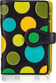 Visconti P1 Saturn Ladies Soft Leather Large Bifold Wallet / Purse with Polka Dots (Lily Pad)