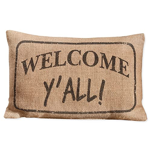 "Primitive WELCOME Y/'ALL Mini Pillow 8/"" x 12/"" Rustic Primitive Country Farmhouse"