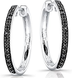 de34b1d6c Victoria Kay Sterling Silver 1/6ct TWT Black Diamond Hoop Earrings
