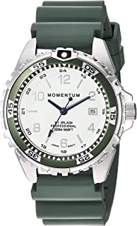 Women's Quartz Watch | M1 Splash by Momentum| Stainless Steel Watches for Women | Dive Watch with Japanese Movement & Analog Display | Water Resistant Ladies Watch with Date -Lume/Khaki Rubber