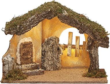"Fontanini - LED USB Italian Stable, for 5"" Scale Nativity Figure Collection, 11.75"" H, Wood/Bark/Moss, Handmade in It"