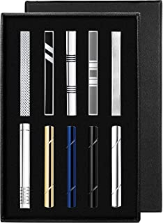 YADOCA Tie Clips Set for Men Tie Bar Clip Black Silver-Tone Gold-Tone for Wedding Business with Gift Box