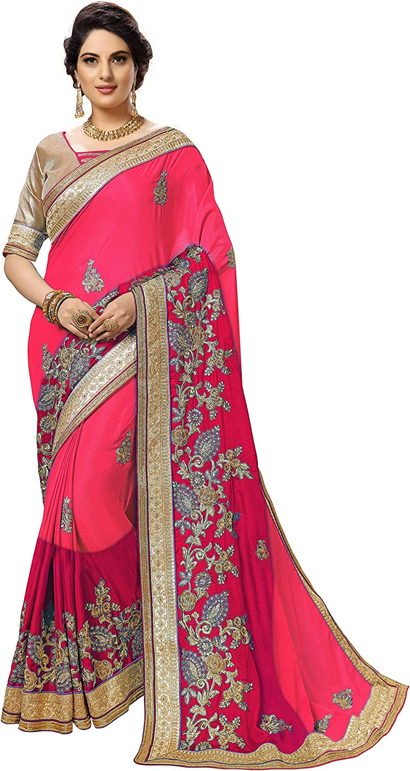 Nivah Sale special price Fashion Women's Satin Embroidery Unstitched Special Campaign Blo with Saree