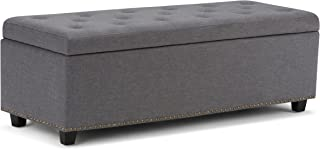 Simpli Home 3AXCOT-245-TC Oregon 42 inch Wide Transitional Storage Ottoman in Khaki Beige Chenille Look Fabric