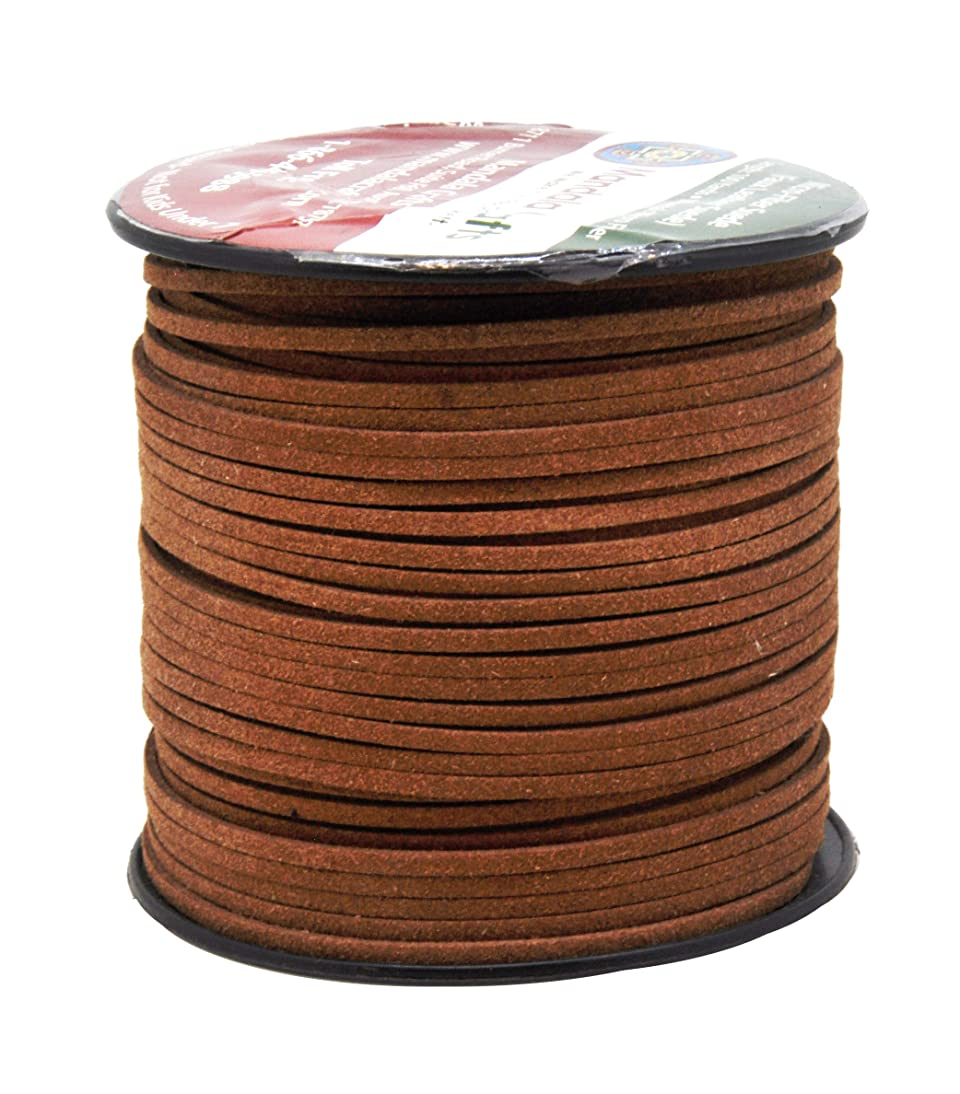 Mandala Crafts 100 Yards 2.65mm Wide Jewelry Making Flat Micro Fiber Lace Faux Suede Leather Cord (Russet Brown)