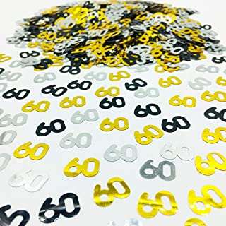 Number 60 Confetti Glitter Metallic Foil Table Party Decorations for Anniversary/Birthday/Wedding Gold Black and Silver 1.5 oz(60)