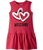 Moschino Kids - Sleeveless Heart Logo Graphic Dress (Little Kids/Big Kids)