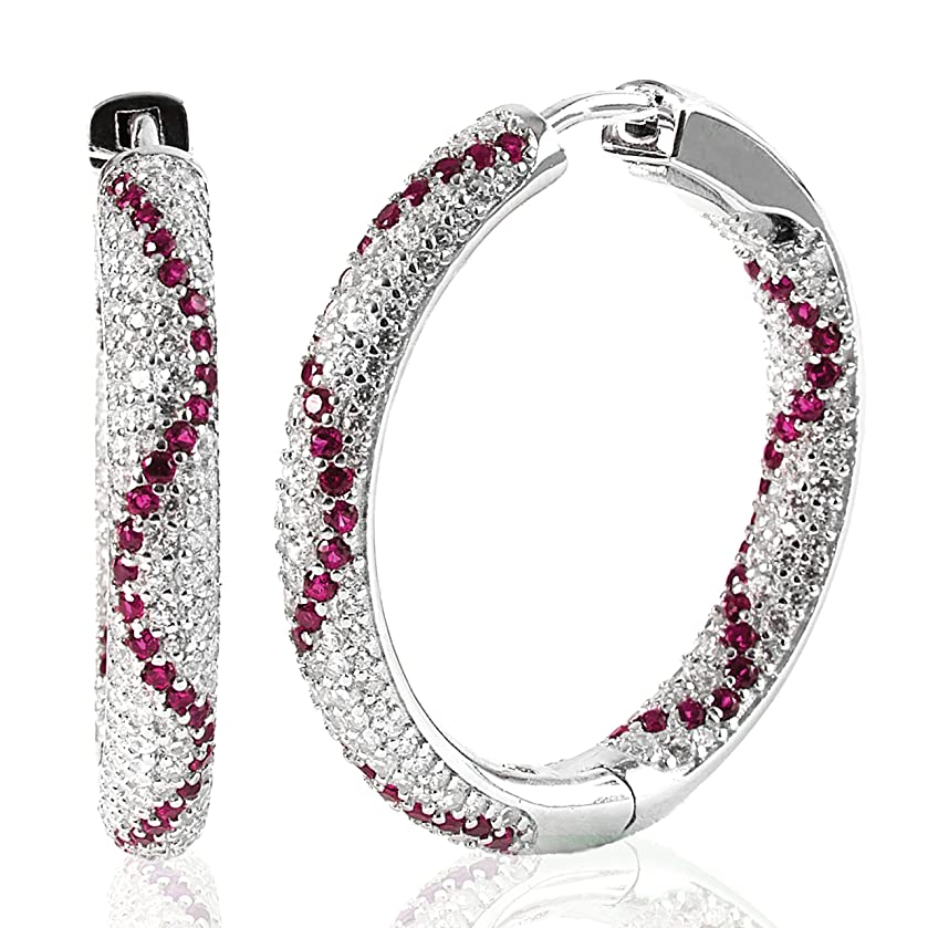 Women's CZ Studded Hoop Earrings –925 Sterling Silver, White and Colored Cubic Zirconias –by Piers Design