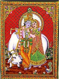 Radha Krishna Wall Hanging Tapestry Bohemian Hippie Poster, Indian Radha Krishna Cotton Twin Size Multi-Purpose Handmade Spiritual Tapestries, Wall Decor Radha Krishna Tapestry Indian Poster,