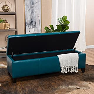 Christopher Knight Home 296848 Living Skyler Teal Leather Storage Ottoman, 17. 50D x 51. 25W x 16. 25H