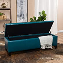 Christopher Knight Home Living Skyler Teal Leather Storage Ottoman, 17. 50D x 51. 25W x 16. 25H