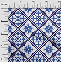 oneOone Velvet Medium Blue Fabric Floral & Tiles Moroccan Quilting Supplies Print Sewing Fabric by The Yard 58 Inch Wide