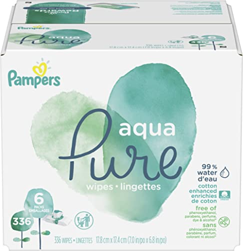 Baby Wipes, Pampers Aqua Pure Sensitive Water Baby Diaper Wipes, Hypoallergenic and Unscented, 6X Pop-Top Travel Pack...