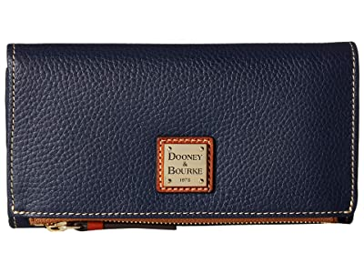 Dooney & Bourke Pebble Fold-Over Wallet (Midnight Blue/Tan Trim) Wallet Handbags
