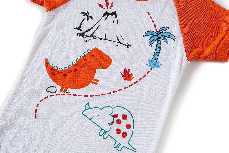 shelry Boys Dinosaur Pajamas Children Summer Clothes 100% Cotton Kids Sleepwear