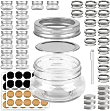 Mini Mason Jars Round 4 oz - Small Canning Glass Jars with Lids - 16 Pack Cute Jars with 40 Labels & Chalk Marker, Clear C...