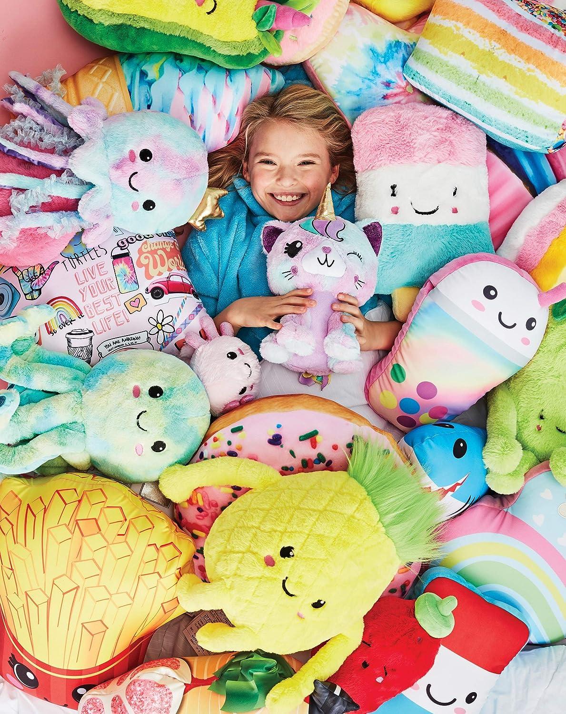 iscream Vanilla Scented Shimmering Rainbow Heart Shaped 14 x 13 Fleece Back Microbead Pillow