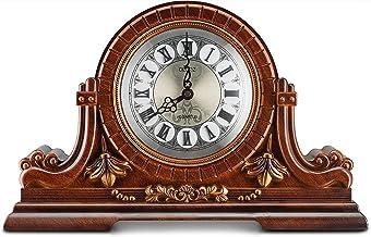 Decodyne - Reloj de mesa, diseño antiguo, con números romanos, madera sintética