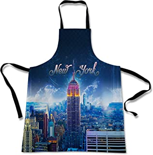 Sweet Gisele Sugar Skull Cooking Apron   3D Print Colorful Chef Aprons   Great Home Kitchen Souvenir Gift Soft   Cool Travel Accessories Made in USA   1 Size Unisex Bib (NY Blue)