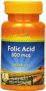 Thompson Folic Acid , 800 Mcg, Plus B-12, 30 Tablets., (Pack of 4)
