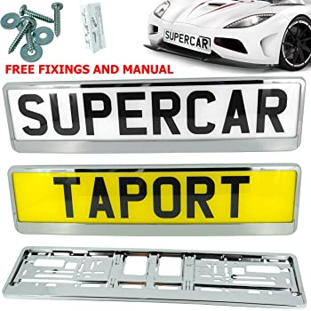2 x Super Chrome Number Plate Surrounds Holders UK Pressed Plates Compatible M