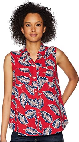 Tropical-Print Sleeveless Top